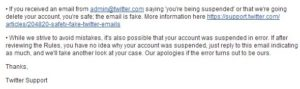 Twitter account suspension