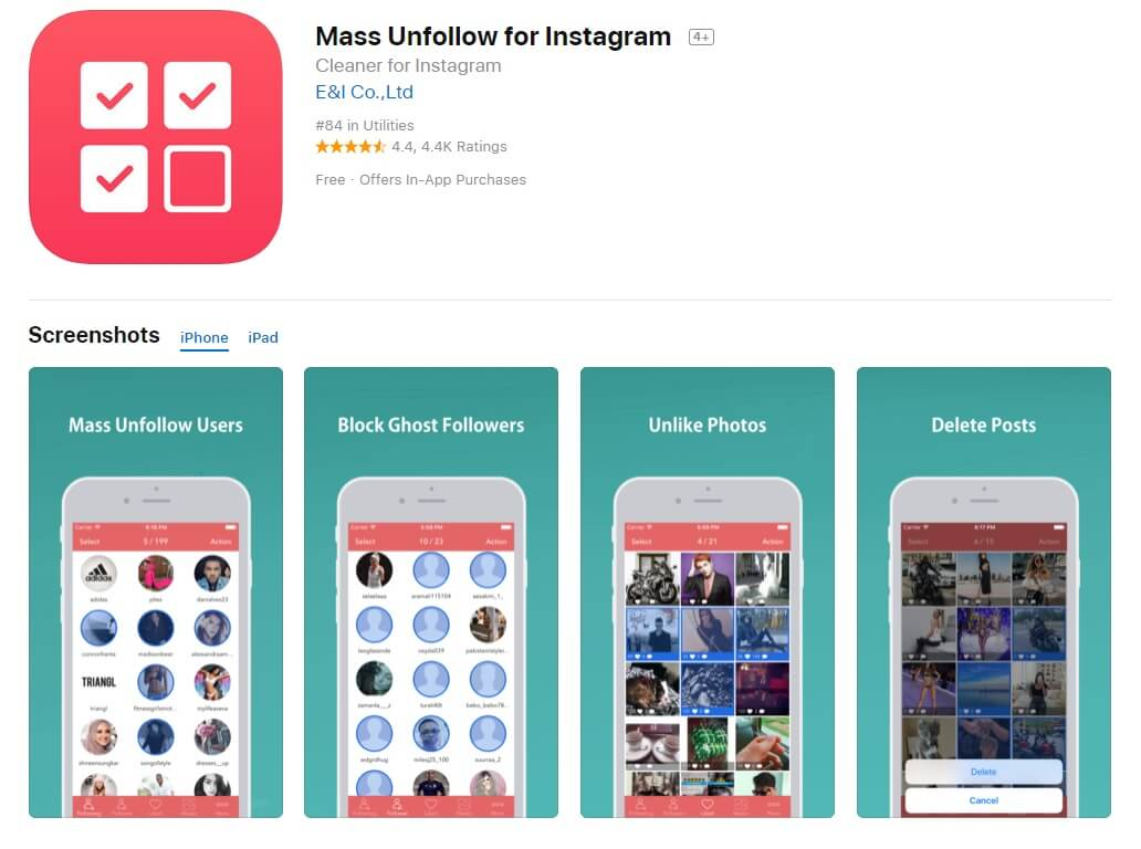 7 Bulk/Mass Unfollow on Instagram Apps iOS/Android Review